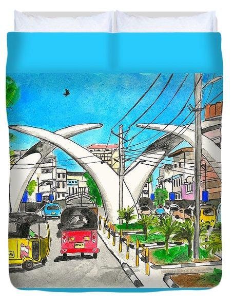 Moi Ave, Mombasa Tusks  Duvet Cover