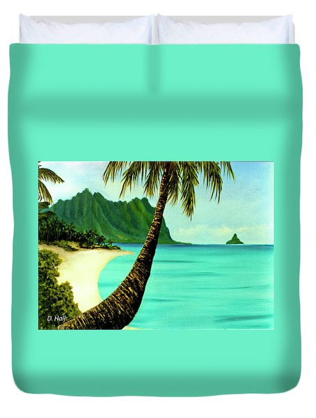 Mokolii Chinamans Hat Koolau Mountains #81 Duvet Cover by Donald k Hall