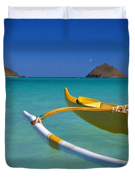 Mokulua Islands, Outrigger Duvet Cover by Dana Edmunds - Printscapes