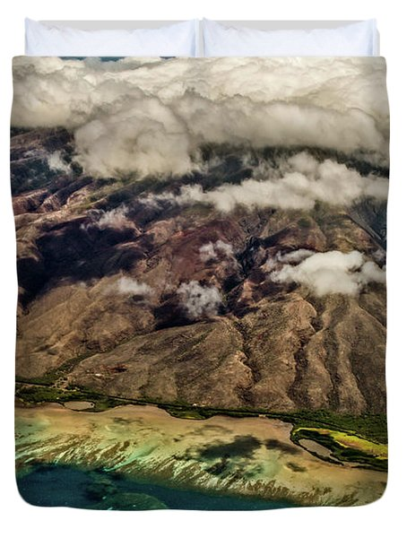 Duvet Cover featuring the photograph Molokai From The Sky by Joann Copeland-Paul
