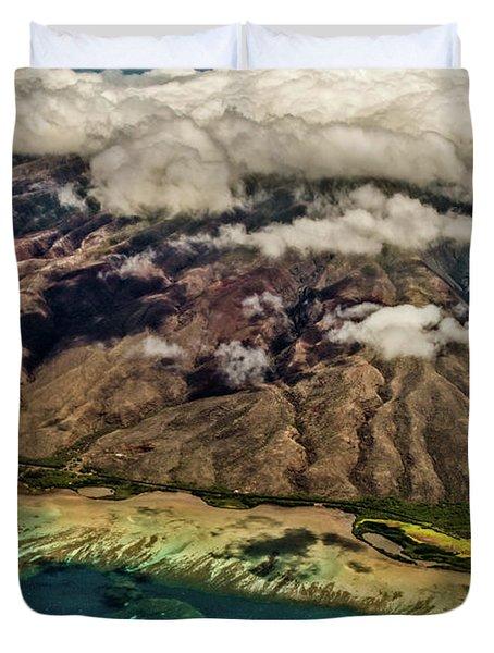 Molokai From The Sky Duvet Cover by Joann Copeland-Paul