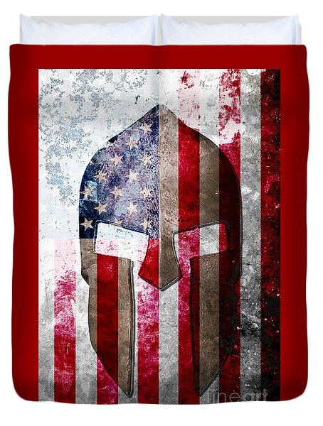 Molon Labe - Spartan Helmet Across An American Flag On Distressed Metal Sheet Duvet Cover