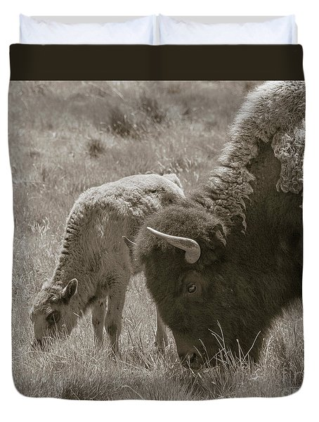 Duvet Cover featuring the photograph Mom And Baby Buffalo by Rebecca Margraf