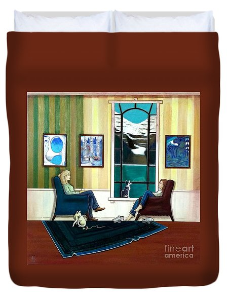 Mom And Daughter Sitting In Chairs With Sphynxes Duvet Cover