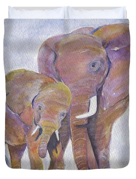 Duvet Cover featuring the painting Mom And Me by Jamie Frier