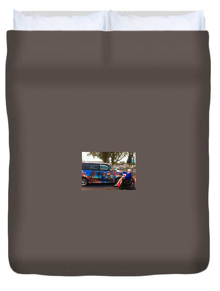 Mom Loves Surf Car Duvet Cover