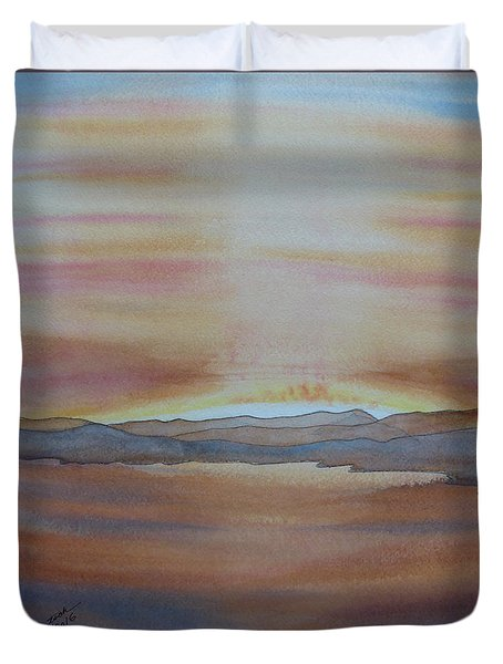 Duvet Cover featuring the painting Moment By The Lake by Joel Deutsch