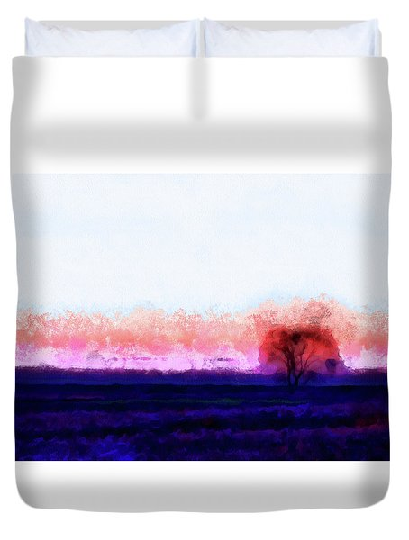 Moment In Blue Horizon Tree Duvet Cover