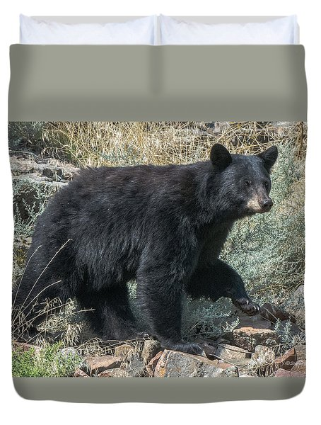 Duvet Cover featuring the photograph Momma Bear Walking by Stephen  Johnson