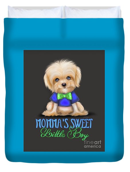 Duvet Cover featuring the painting Mommas Sweet Little Boy by Catia Lee