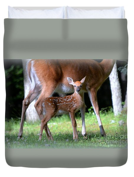 Duvet Cover featuring the photograph Mommy And Me by Brenda Bostic