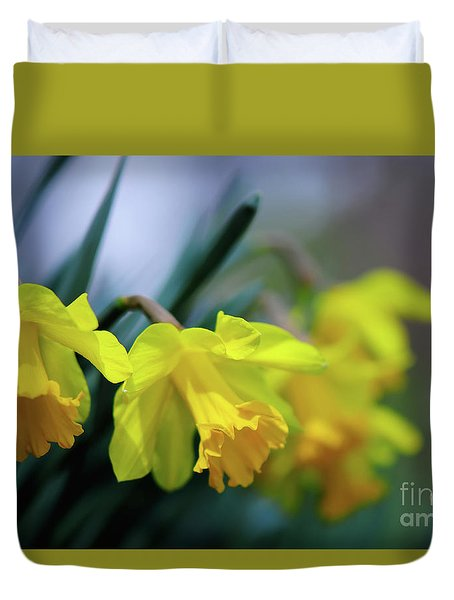 Duvet Cover featuring the photograph Mom's Daffs by Lois Bryan