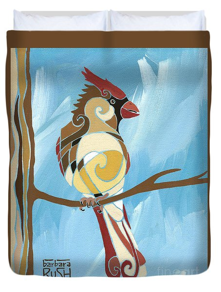 Moms Day Off Female Cardinal Painting Duvet Cover