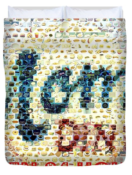 Moms Diner Food Mosaic Duvet Cover by Paul Van Scott