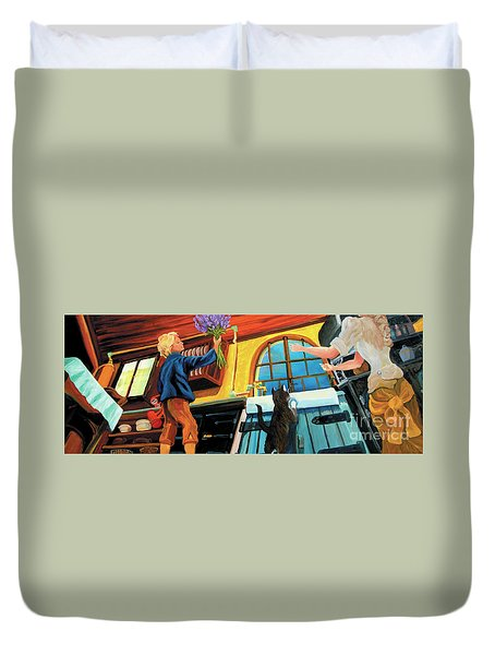 Duvet Cover featuring the painting Mom's Kitchen by Donna Hall