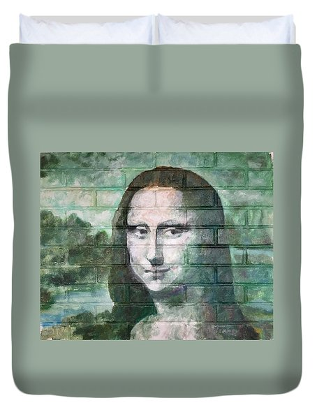 Duvet Cover featuring the painting Mona Lisa  by Stan Tenney