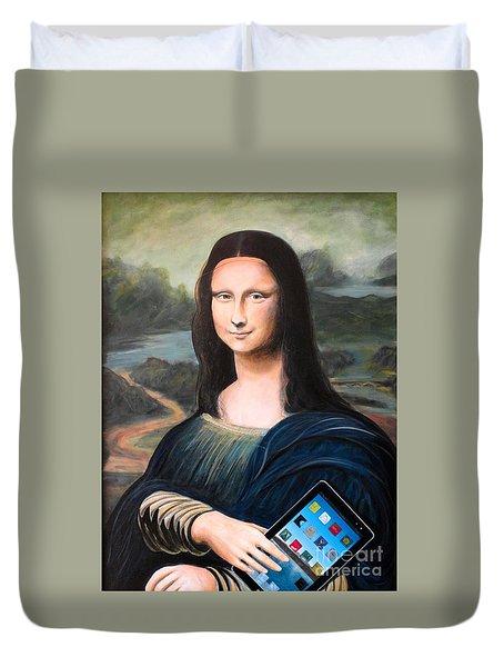 Mona Lisa With Ipad Duvet Cover