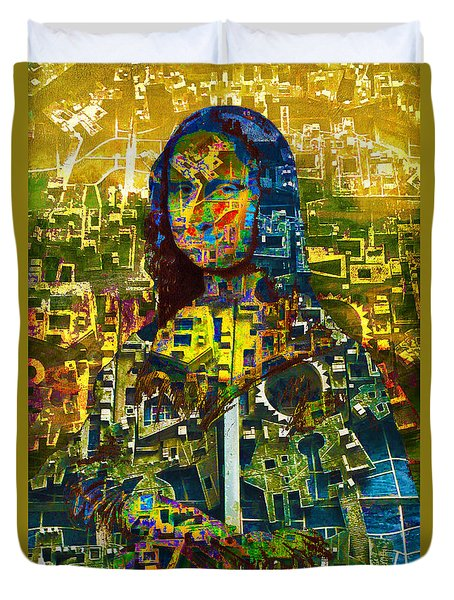 Duvet Cover featuring the mixed media Mona by Tony Rubino