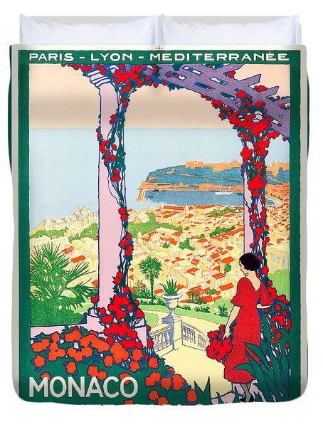 Monaco Monte-carlo Travel Poster 1922 Duvet Cover