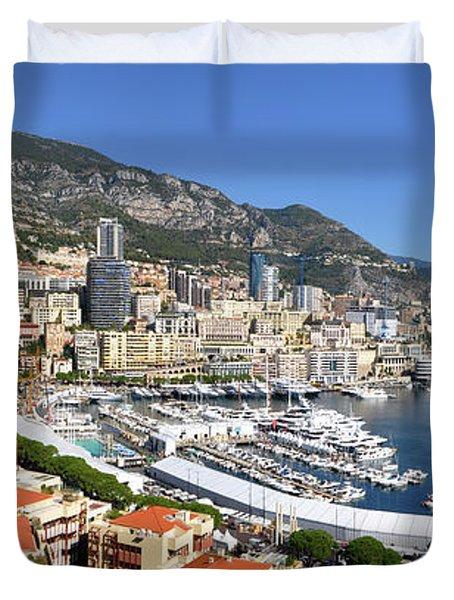 Duvet Cover featuring the photograph Monaco Port Hercule Panorama by Yhun Suarez