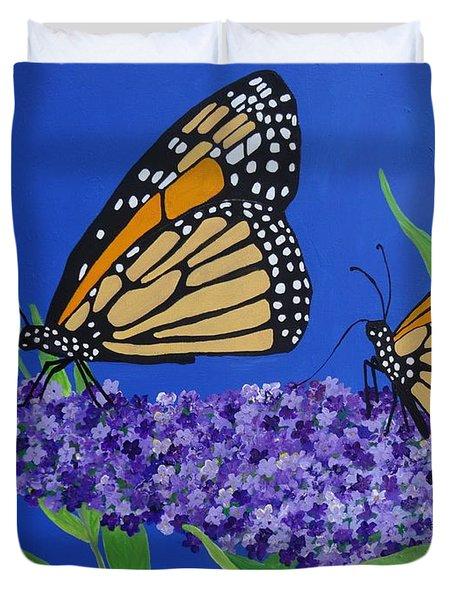 Monarch Butterflies On Buddleia Flower Duvet Cover