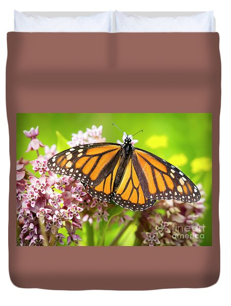Duvet Cover featuring the photograph Monarch Butterfly Closeup  by Ricky L Jones