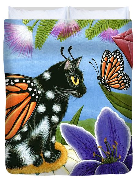 Monarch Butterfly Fairy Cat Duvet Cover