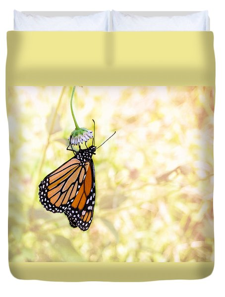 Monarch Butterfly Hanging On Wildflower Duvet Cover