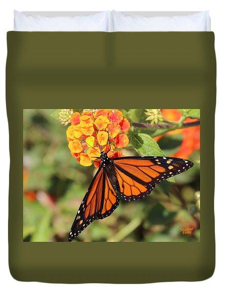 Monarch Butterfly On Orange Flower Duvet Cover