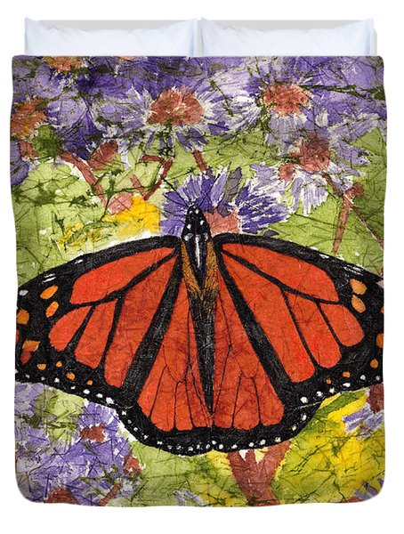 Monarch Butterfly On Purple Flowers Watercolor Batik Duvet Cover