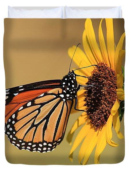 Monarch Butterfly On Sun Flower Duvet Cover