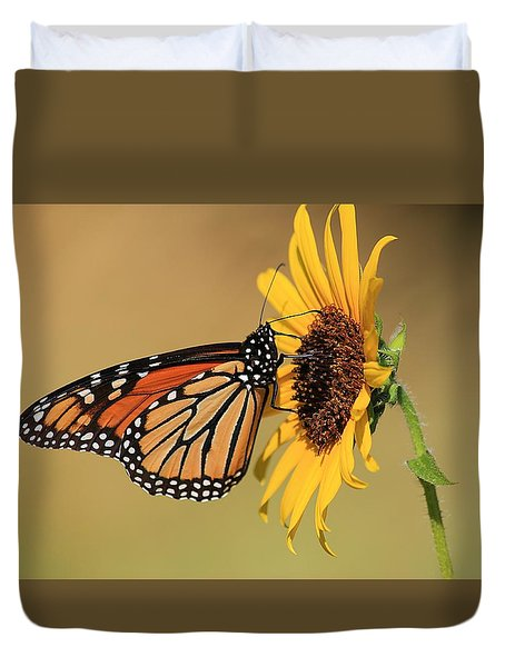 Monarch Butterfly On Sun Flower Duvet Cover