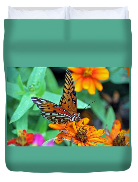 Monarch Butterfly Resting Duvet Cover