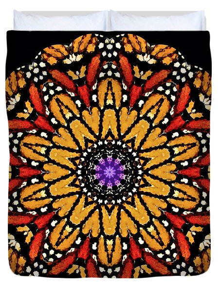 Monarch Butterfly Wings Kaleidoscope Duvet Cover