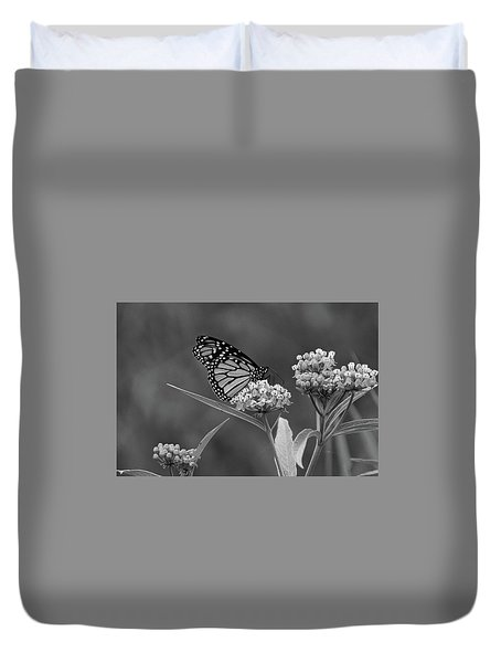 Monarch In Black And White Duvet Cover
