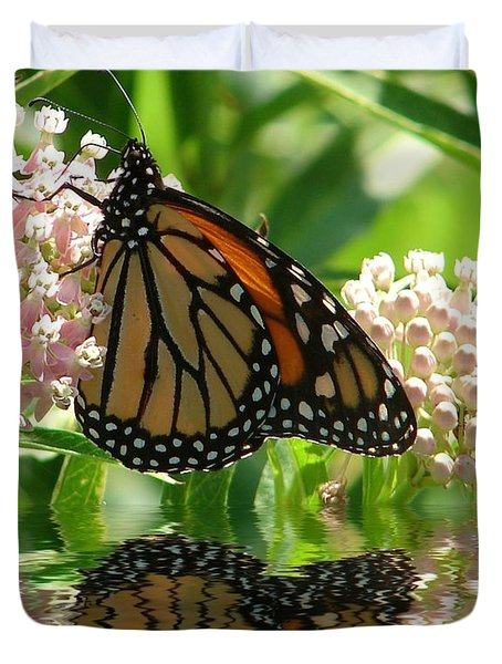 Duvet Cover featuring the photograph Monarch Lunch by Rick Friedle