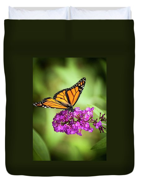 Duvet Cover featuring the photograph Monarch Moth On Buddleias by Carolyn Marshall