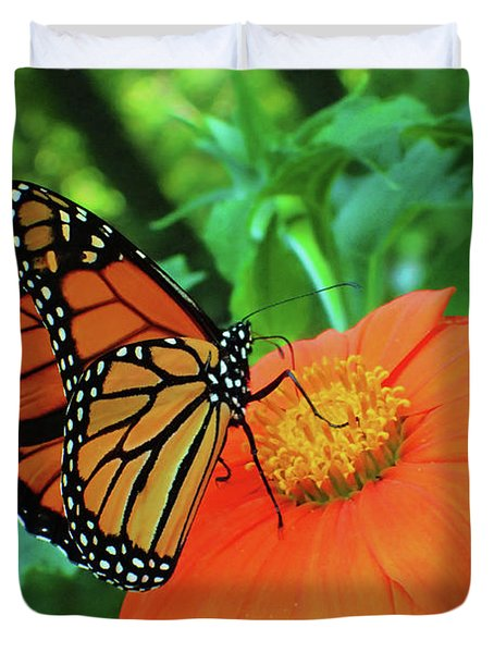 Monarch On Mexican Sunflower Duvet Cover