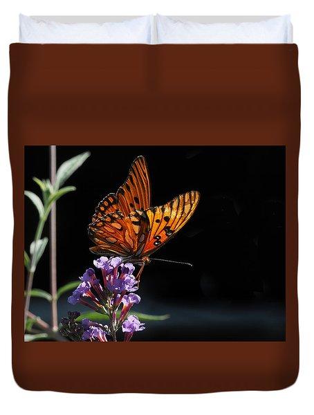 Monarch On Purple Flowers Duvet Cover