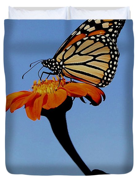 Monarch On Zinnia  Duvet Cover
