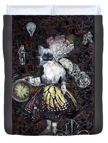 Duvet Cover featuring the mixed media Monarch Steampunk Goddess by Genevieve Esson