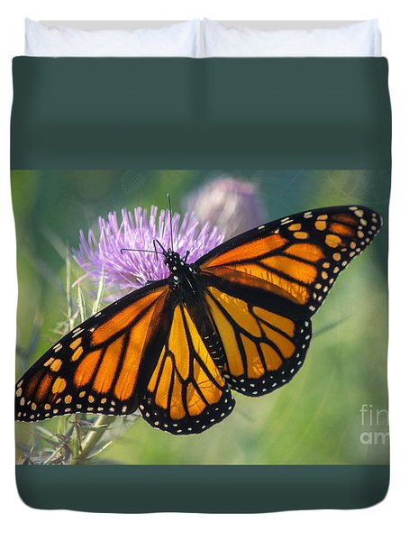 Duvet Cover featuring the photograph Monarch's Beauty by Rima Biswas