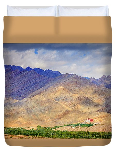 Duvet Cover featuring the photograph Monastery In The Mountains by Alexey Stiop