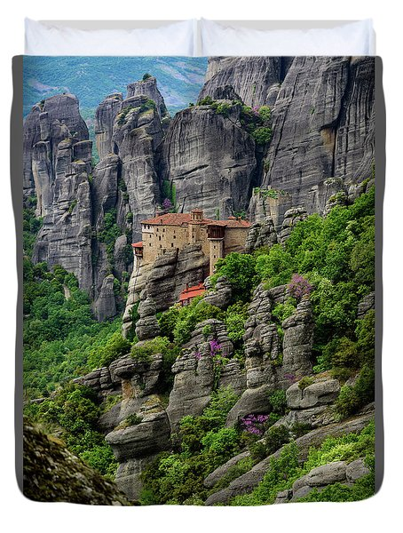 Monastery Of Saint Nicholas Of Anapafsas, Meteora, Greece Duvet Cover