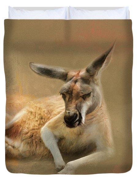 Monday Morning Drowsies Kangaroo Art Duvet Cover by Jai Johnson