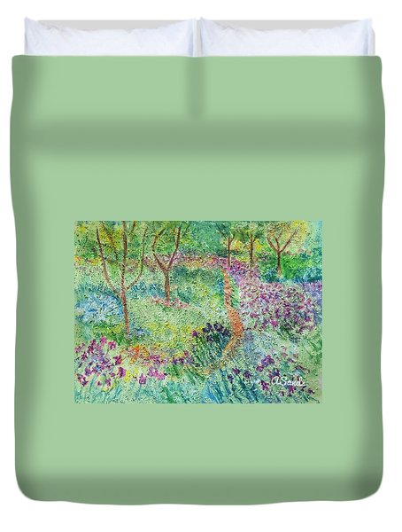 Monet Inspired Iris Garden Duvet Cover