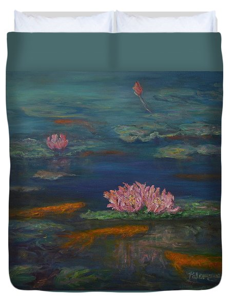 Monet Inspired Water Lilies With Gold Fish In A Pond Duvet Cover