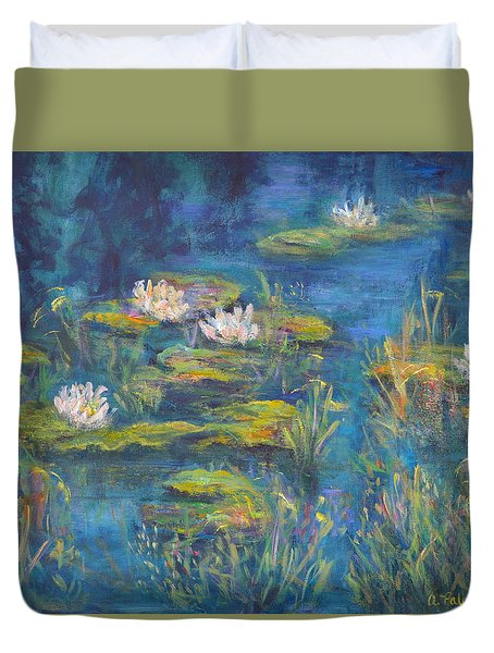 Monet Style Water Lily Marsh Wetland Landscape Painting Duvet Cover
