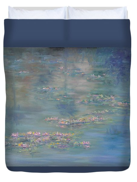 Monet Style Water Lily Peaceful Tropical Garden Painting Print Duvet Cover