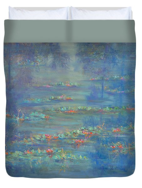 Monet Style Water Lily Pond Landscape Painting Duvet Cover